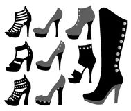 Fashionable ladies shoes in black Royalty Free Stock Image