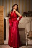 Fashionable lady in a red dress Royalty Free Stock Photos