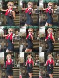 Fashionable  lady with short black lace dress and red scarf  and high heels, outdoor shot . Young attractive short haired blonde. Woman with sunglasses posing Stock Photo