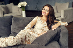 Fashionable lady in stylish interior Royalty Free Stock Images