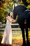 Fashionable lady with white bridal dress near brown horse in nature. Beautiful young woman in a long dress posing with a horse Stock Photos