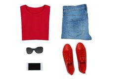 Fashionable layout of women clothing. royalty free stock photo