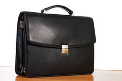 Fashionable leather briefcase on a white Stock Photo