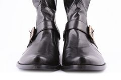 Fashionable leather female boots Royalty Free Stock Photos