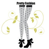 Fashionable leggings with pattern. Sweet fashionable leggings with patern and boots and decorative  flourish Royalty Free Stock Images