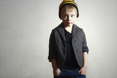 Fashionable little Boy in cap and jeans.Fashion Children Royalty Free Stock Images