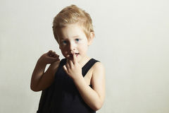 Fashionable little boy.fashion children.handsome kid Stock Photos