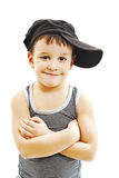 Fashionable little boy.Hip-Hop Style. Fashion children.handsome blond kid. Pose Boy in Tracker Hat. Young Rapper. Funny Child in Cap Stock Images