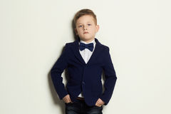 Fashionable little boy.stylish kid in suit and tie Stock Photo