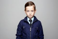 Elegant kid in tie, business child stock photos