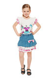 Fashionable little cute girl in shirt and skirt, full length, isolated on white background Stock Photo