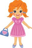 Fashionable little girl with a bag. Cartoon drawing Stock Images