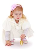 Fashionable little girl with Christmas toy in hand Royalty Free Stock Images