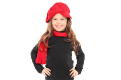 Fashionable little girl with red beret Stock Photos