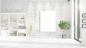 Fashionable loft interior with empty frame, copyspace, nobody and panoramic view in horizontal arrangement. 3D rendering Royalty Free Stock Photos
