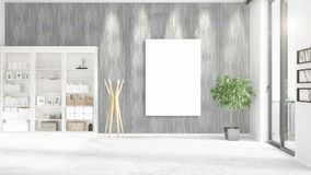 Fashionable loft interior with empty frame, copyspace, nobody and panoramic view in horizontal arrangement. 3D rendering Royalty Free Stock Images