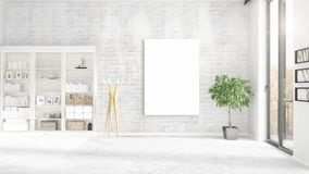 Fashionable loft interior with empty frame, copyspace, nobody and panoramic view in horizontal arrangement. 3D rendering Stock Images