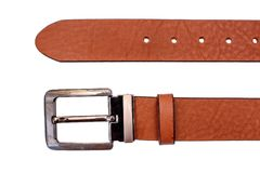 Fashionable male brown gray leather belt isolated on white background Stock Photography
