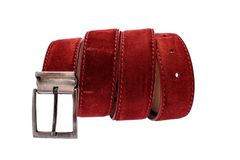 Fashionable male brown gray leather belt isolated on white background Royalty Free Stock Images