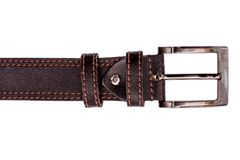 Fashionable male brown gray leather belt isolated on white background Royalty Free Stock Photos