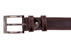 Fashionable male brown gray leather belt isolated on white background Stock Image