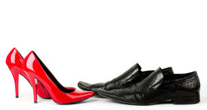 Fashionable male and female shoes Royalty Free Stock Images