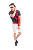Fashionable male model wearing casual summer clothes Stock Photos