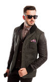 Fashionable male model wearing a cool jacket Stock Images