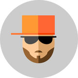 Fashionable man with beard and mustaches in sunglasses and a bas. Eball cap. Style flat Royalty Free Stock Photography
