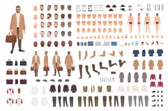 Fashionable man of middle ages constructor or DIY kit. Set of male cartoon character body parts, facial expressions. Gestures, clothes, accessories isolated on stock illustration
