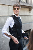 Fashionable man at Milan Men`s Fashion Week Royalty Free Stock Photos