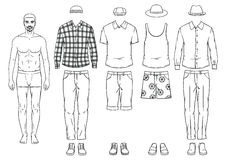 Fashionable Man Paper Dall With Clothes Modern Clothing Casual Hipster Style For Men