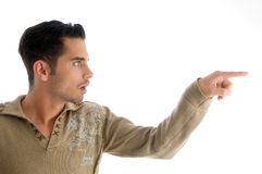 Fashionable man pointing sideways Royalty Free Stock Images
