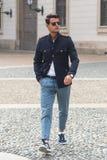 Fashionable man posing during Milan Fashion Week Stock Photography