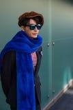 Fashionable man posing at Milan Men`s Fashion Week Stock Photos