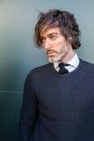 Fashionable man posing at Milan Men`s Fashion Week Royalty Free Stock Photo