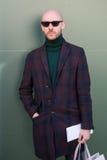 Fashionable man posing at Milan Men`s Fashion Week Stock Photography