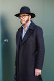 Fashionable man posing at Milan Men`s Fashion Week Stock Image