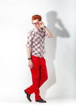 Fashionable man in red trousers Stock Image