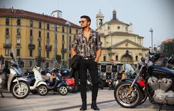 MILAN, Italy: September 19, 2018 Man streetstyle outfit. Fashionable man streetstyle outfit before ALBERTA FERRETTIi fashion show during milano fashion week fall stock image