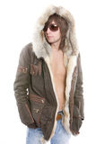 Fashionable man wearing parka Royalty Free Stock Image