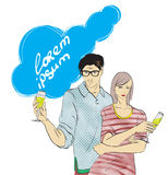 Fashionable man and woman with glasses Stock Image