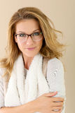 Fashionable mature woman with eyeglasses Royalty Free Stock Photos
