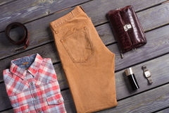 Fashionable men's set. Fashionable men's set of beautiful clothes. Stylish men's clothing Royalty Free Stock Images