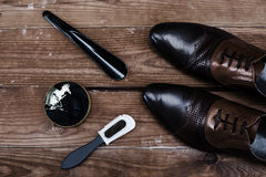 Fashionable men`s shoes and accessories Stock Image