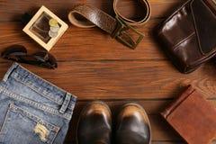 Fashionable men set on  wooden background Royalty Free Stock Image