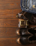 Fashionable men set on  wooden background Stock Images