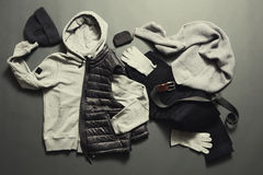 Fashionable men& x27;s warm clothes and accessories Stock Photos