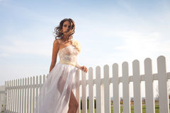 Fashionable model in bride dress Royalty Free Stock Images