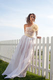 Fashionable model in bride dress Stock Images